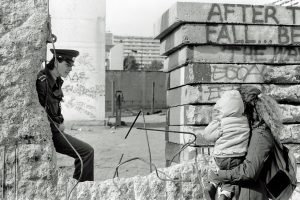 This is a picture of the fallen Berlin Wall in 1990.