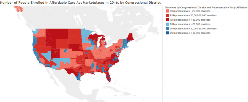 Map of enrollment in ACA by Congressional districts.